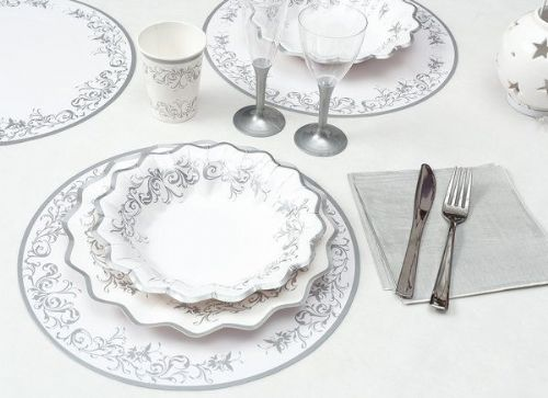 Imperial Silver Place Mats Round 6's Wedding Anniversary Disposable Tableware